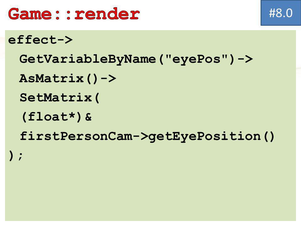 effect-> GetVariableByName( eyePos )-> AsMatrix()-> SetMatrix( (float*)& firstPersonCam->getEyePosition() ); #8.0