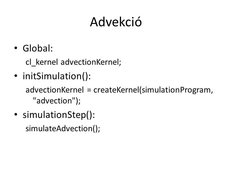 Advekció Global: cl_kernel advectionKernel; initSimulation(): advectionKernel = createKernel(simulationProgram, advection ); simulationStep(): simulateAdvection();