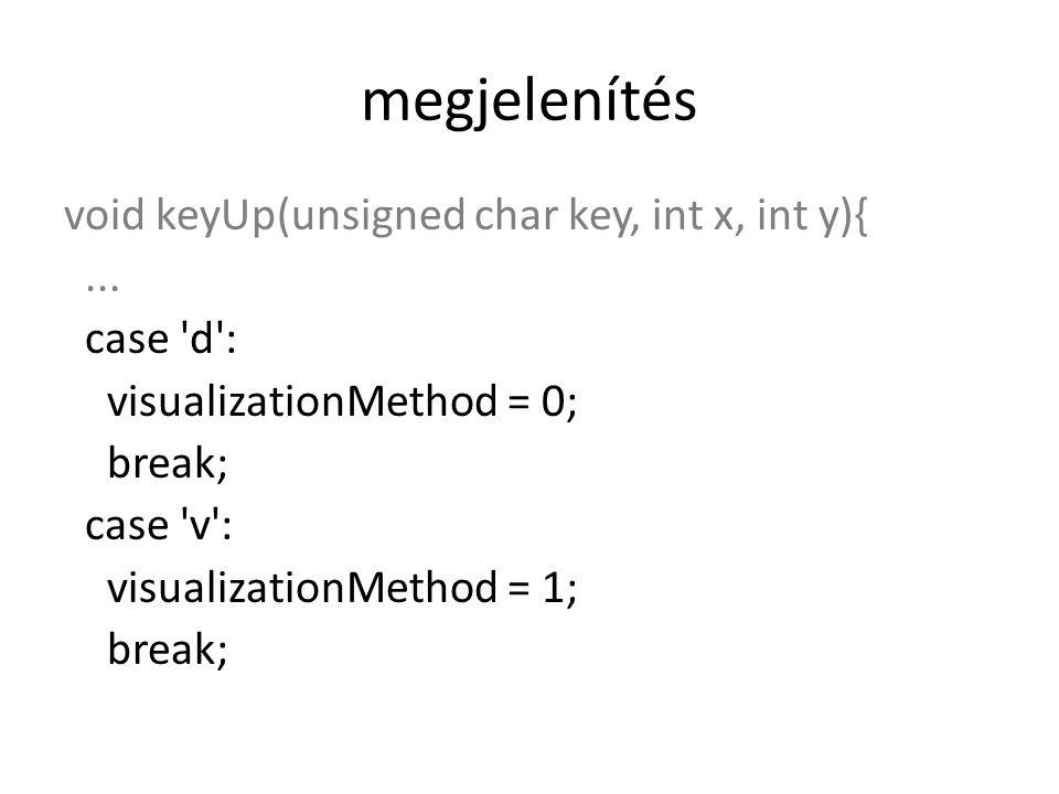 megjelenítés void keyUp(unsigned char key, int x, int y){...