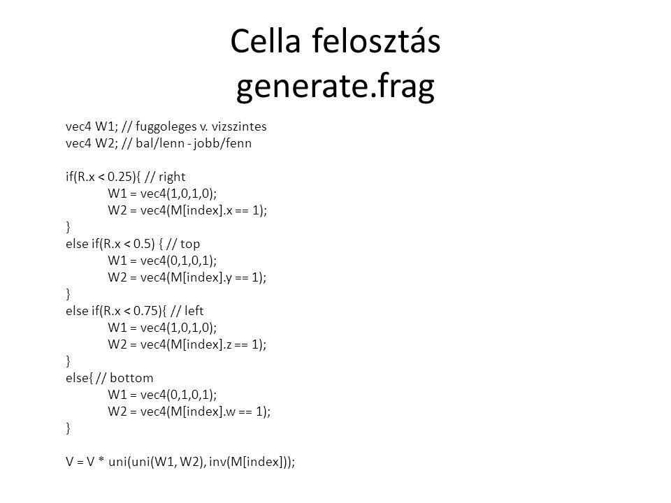 Cella felosztás generate.frag vec4 W1; // fuggoleges v.