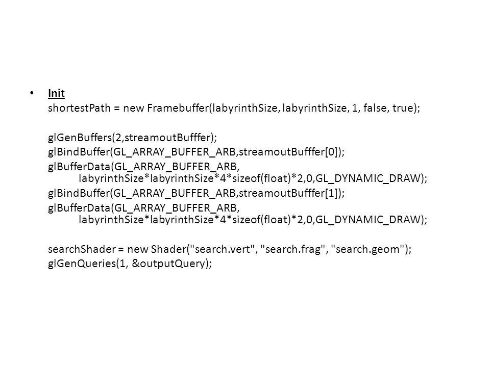 Init shortestPath = new Framebuffer(labyrinthSize, labyrinthSize, 1, false, true); glGenBuffers(2,streamoutBufffer); glBindBuffer(GL_ARRAY_BUFFER_ARB,streamoutBufffer[0]); glBufferData(GL_ARRAY_BUFFER_ARB, labyrinthSize*labyrinthSize*4*sizeof(float)*2,0,GL_DYNAMIC_DRAW); glBindBuffer(GL_ARRAY_BUFFER_ARB,streamoutBufffer[1]); glBufferData(GL_ARRAY_BUFFER_ARB, labyrinthSize*labyrinthSize*4*sizeof(float)*2,0,GL_DYNAMIC_DRAW); searchShader = new Shader( search.vert , search.frag , search.geom ); glGenQueries(1, &outputQuery);
