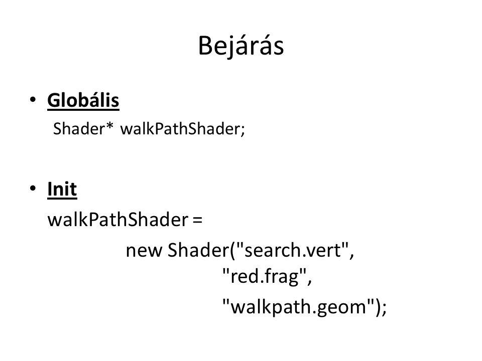 Bejárás Globális Shader* walkPathShader; Init walkPathShader = new Shader( search.vert , red.frag , walkpath.geom );