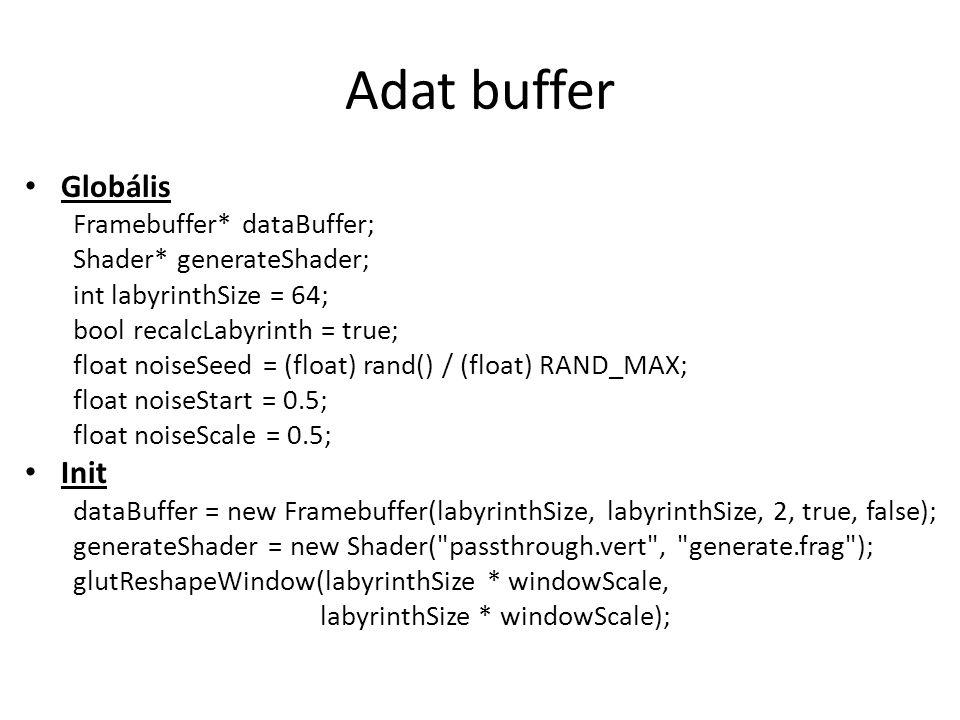 Adat buffer Globális Framebuffer* dataBuffer; Shader* generateShader; int labyrinthSize = 64; bool recalcLabyrinth = true; float noiseSeed = (float) rand() / (float) RAND_MAX; float noiseStart = 0.5; float noiseScale = 0.5; Init dataBuffer = new Framebuffer(labyrinthSize, labyrinthSize, 2, true, false); generateShader = new Shader( passthrough.vert , generate.frag ); glutReshapeWindow(labyrinthSize * windowScale, labyrinthSize * windowScale);