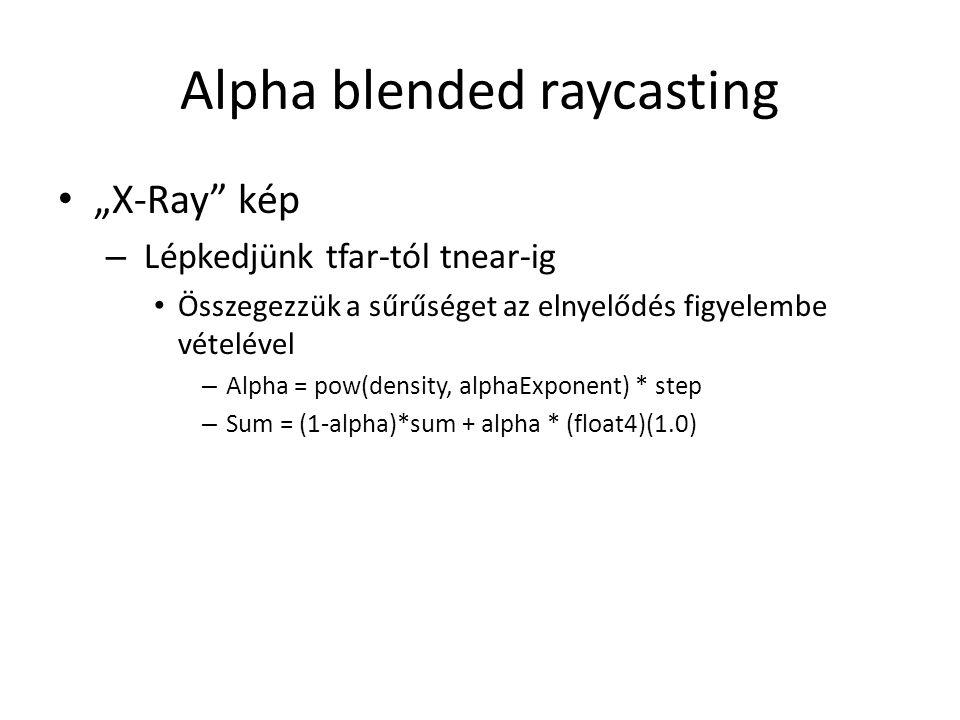 """Alpha blended raycasting """"X-Ray kép – Lépkedjünk tfar-tól tnear-ig Összegezzük a sűrűséget az elnyelődés figyelembe vételével – Alpha = pow(density, alphaExponent) * step – Sum = (1-alpha)*sum + alpha * (float4)(1.0)"""
