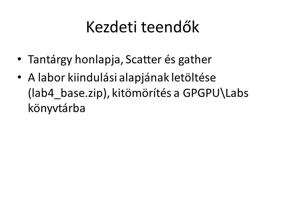 Hisztogram Szükséges osztálypéldányok: Quad* fullscreenQuad = new Quad(); Shader* histogramShader = new Shader( histogram.vert , histogram.frag ); Shader* visualizeShader = new Shader( passthrough.vert , visualize.frag ); Texture2D* texture = new Texture2D(); texture->loadFromFile(std::string( lena.jpg )); int windowWidth = texture->getWidth(); int windowHeight = texture->getHeight(); PointGrid* grid = new PointGrid(texture->getWidth(), texture->getHeight()); Framebuffer* histogramBuffer = new Framebuffer(255, 1, 1);