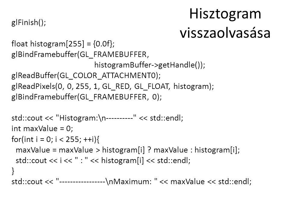Hisztogram visszaolvasása glFinish(); float histogram[255] = {0.0f}; glBindFramebuffer(GL_FRAMEBUFFER, histogramBuffer->getHandle()); glReadBuffer(GL_COLOR_ATTACHMENT0); glReadPixels(0, 0, 255, 1, GL_RED, GL_FLOAT, histogram); glBindFramebuffer(GL_FRAMEBUFFER, 0); std::cout << Histogram:\n---------- << std::endl; int maxValue = 0; for(int i = 0; i < 255; ++i){ maxValue = maxValue > histogram[i] .