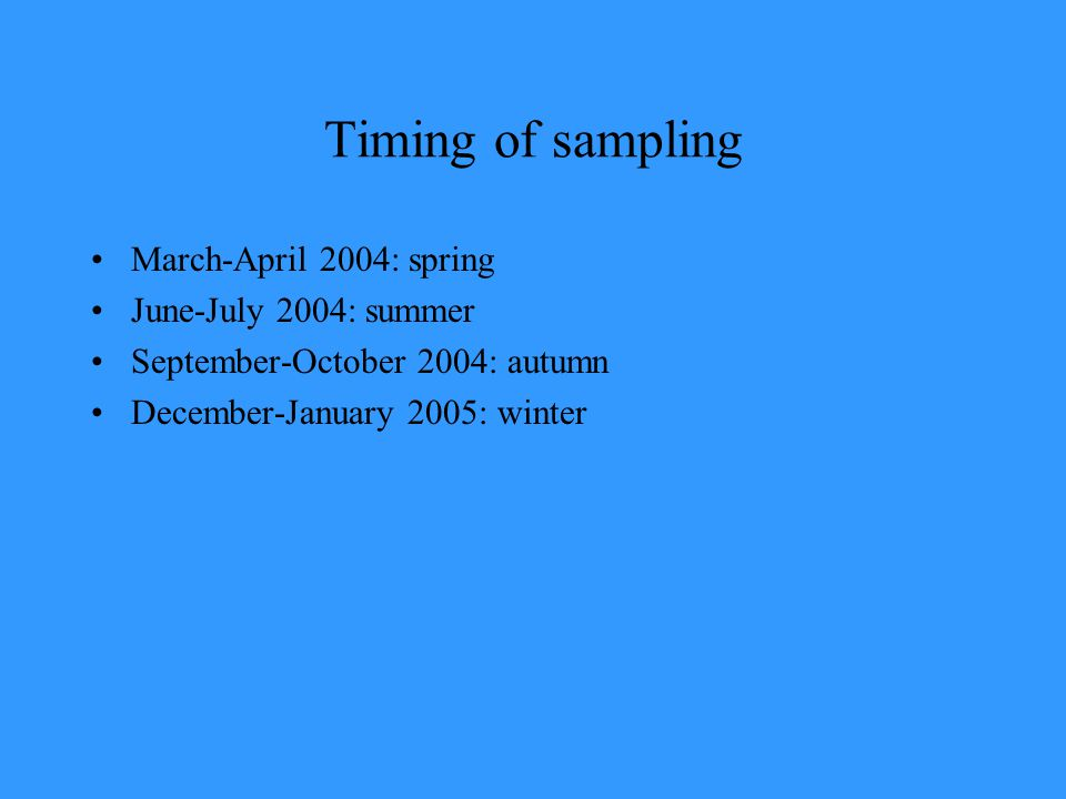 Timing of sampling March-April 2004: spring June-July 2004: summer September-October 2004: autumn December-January 2005: winter