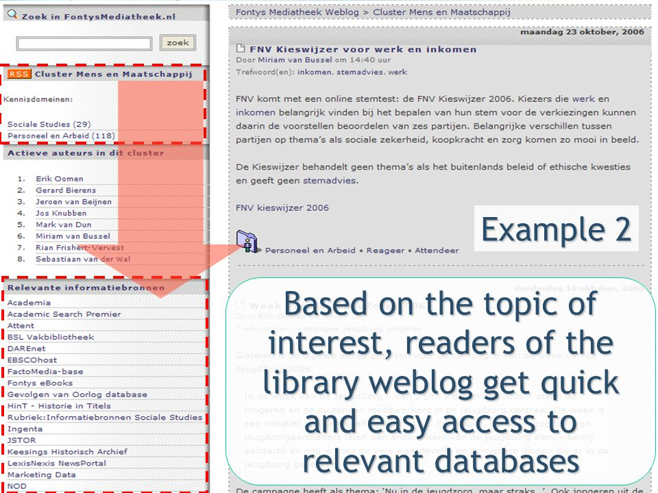 Example 2 Based on the topic of interest, readers of the library weblog get quick and easy access to relevant databases