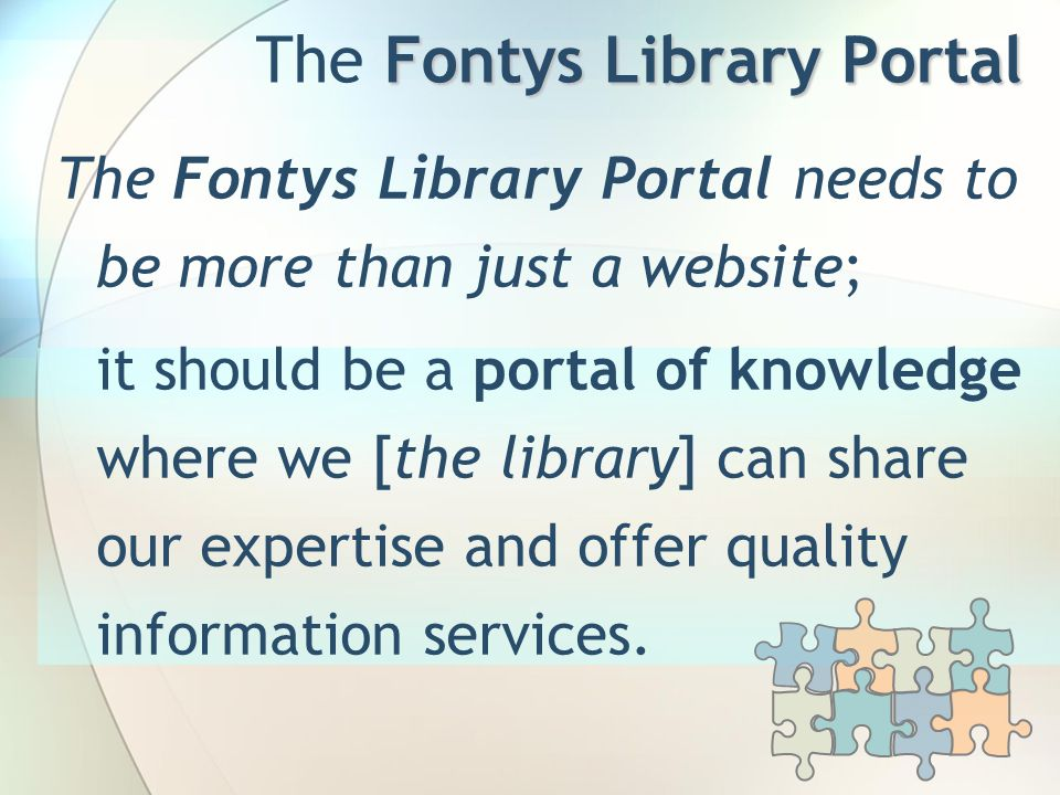 Thank you Gerard Bierens Fontys Library webcoordinator Email: g.bierens@fontys.nl Phone: +31 877 875 895 www.fontys.nl/library Questions?
