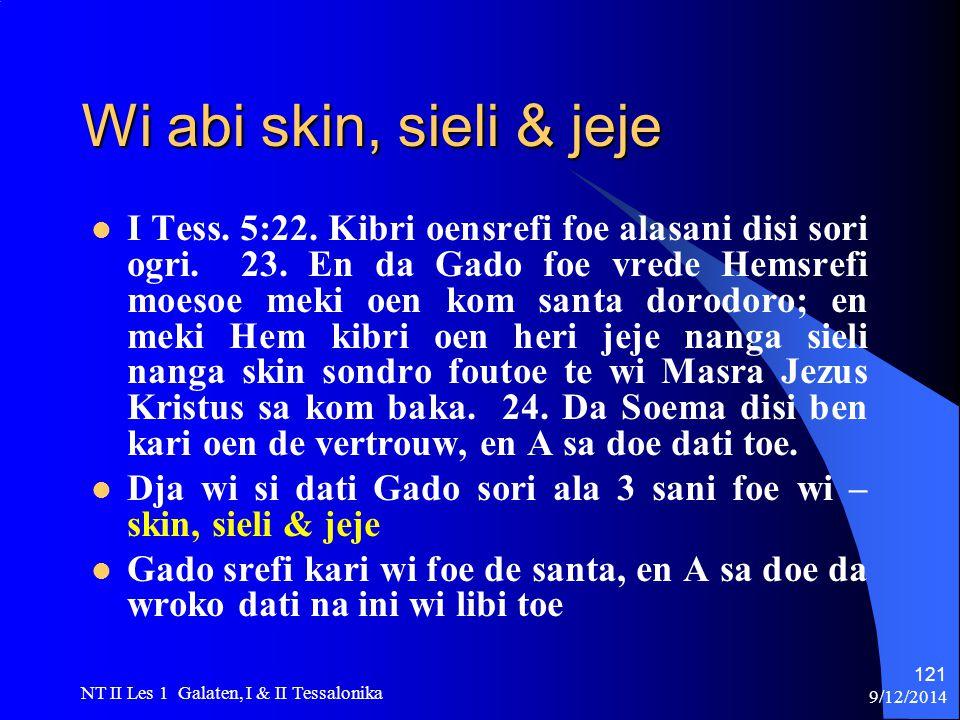 9/12/2014 NT II Les 1 Galaten, I & II Tessalonika 121 Wi abi skin, sieli & jeje I Tess.