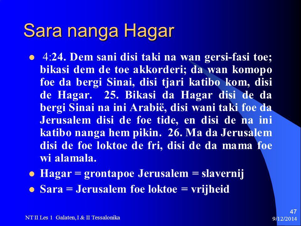 9/12/2014 NT II Les 1 Galaten, I & II Tessalonika 47 Sara nanga Hagar 4:24.