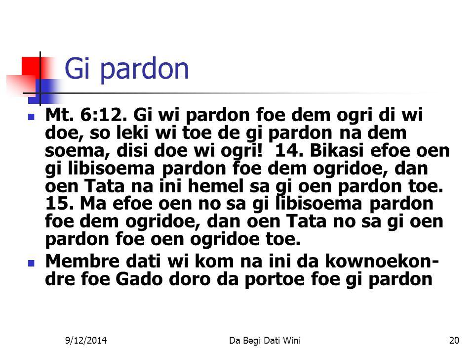 9/12/2014Da Begi Dati Wini20 Gi pardon Mt. 6:12.