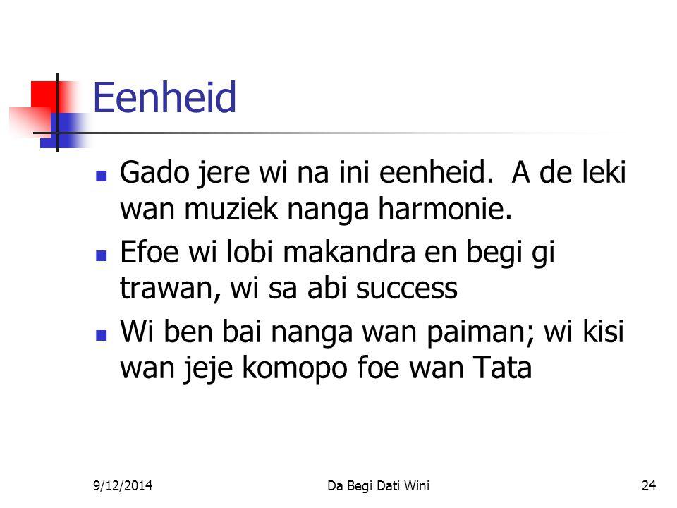 9/12/2014Da Begi Dati Wini24 Eenheid Gado jere wi na ini eenheid.
