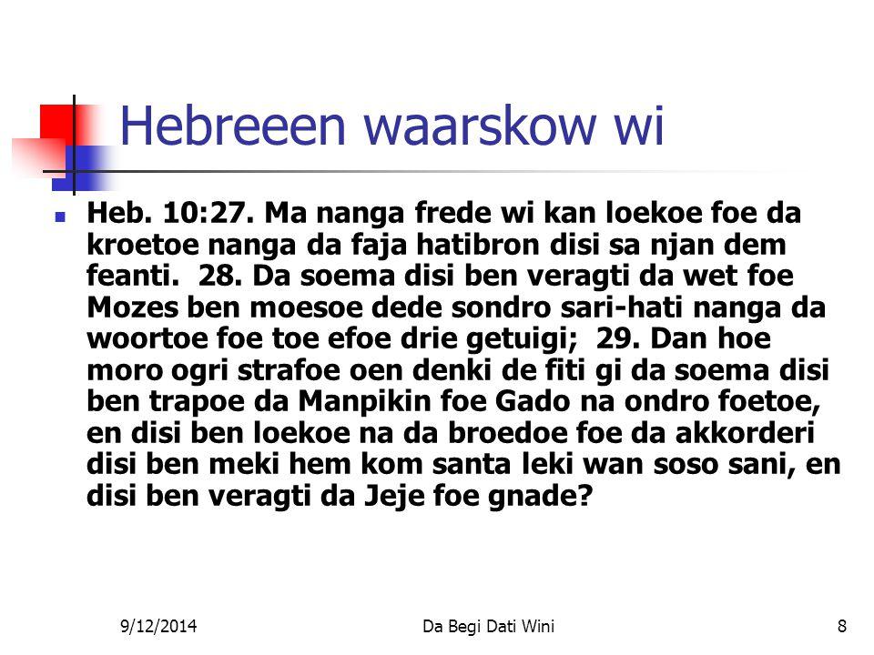 9/12/2014Da Begi Dati Wini8 Hebreeen waarskow wi Heb.
