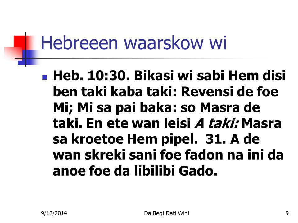 9/12/2014Da Begi Dati Wini9 Hebreeen waarskow wi Heb.
