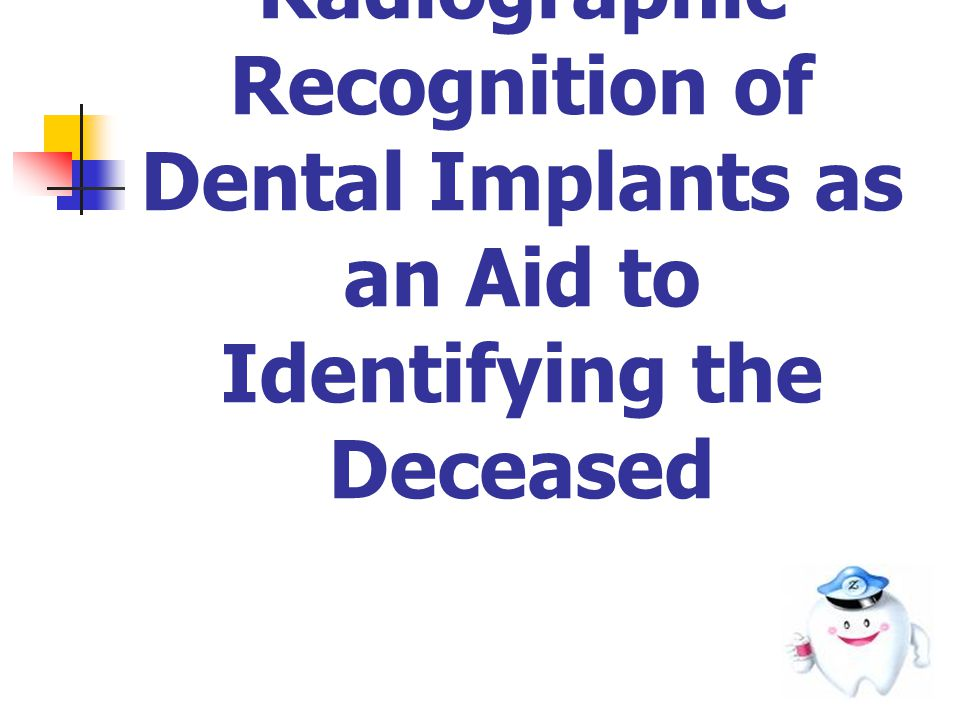 DISCUSSION Differentiation intraoral and extraoral radiographs assessed in a single day Intra-Examiner = no significant Inter-Examiner = significant Implant Recognition System ( IRS )