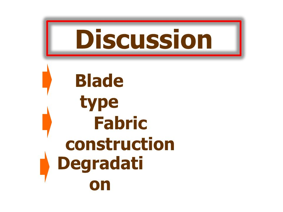 Discussion Blade type Fabric construction Degradati on