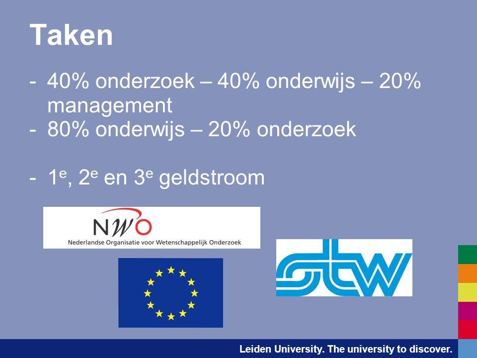 Taken -40% onderzoek – 40% onderwijs – 20% management -80% onderwijs – 20% onderzoek -1 e, 2 e en 3 e geldstroom