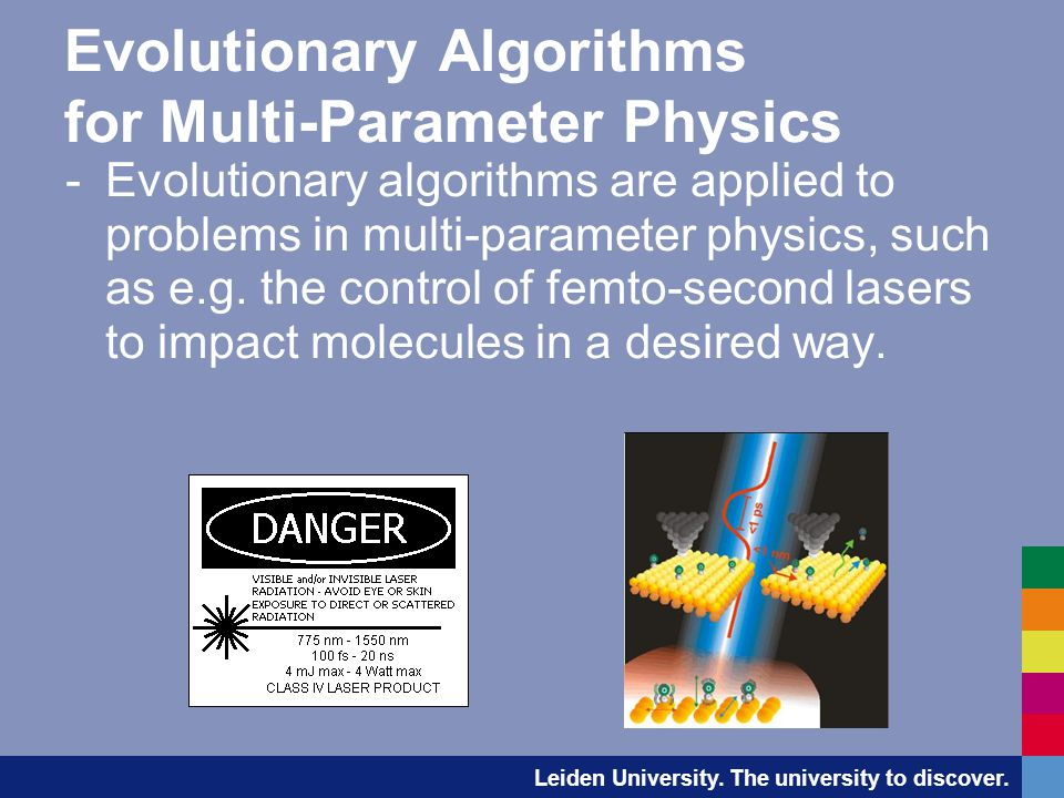 Evolutionary Algorithms for Multi-Parameter Physics -Evolutionary algorithms are applied to problems in multi-parameter physics, such as e.g.