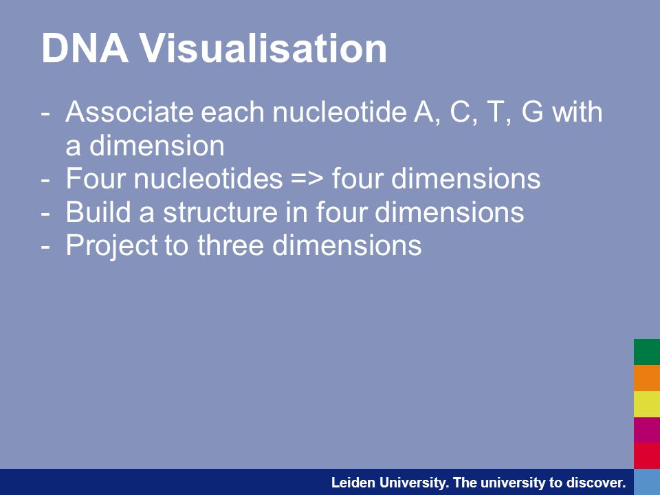 DNA Visualisation -Associate each nucleotide A, C, T, G with a dimension -Four nucleotides => four dimensions -Build a structure in four dimensions -Project to three dimensions