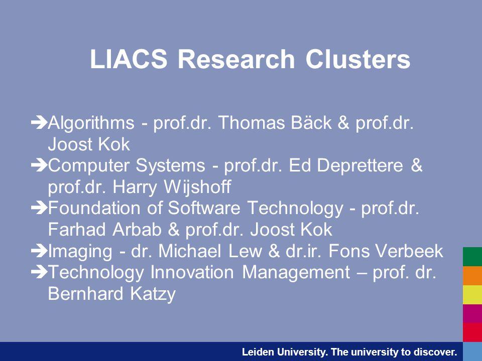Leiden University. The university to discover. LIACS Research Clusters  Algorithms - prof.dr.