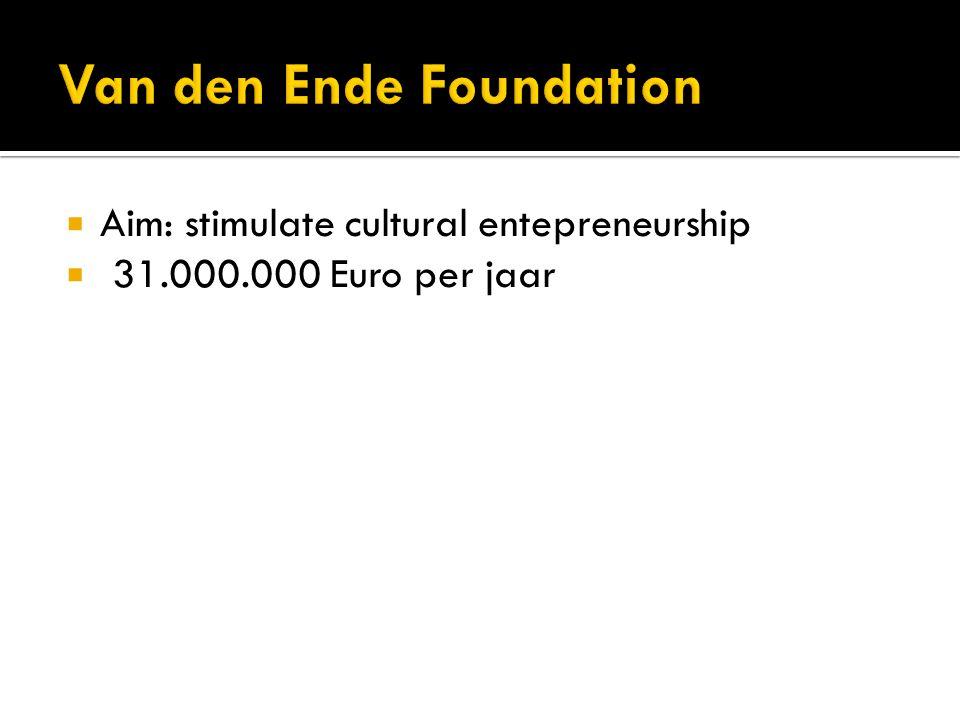  Aim: stimulate cultural entepreneurship  31.000.000 Euro per jaar
