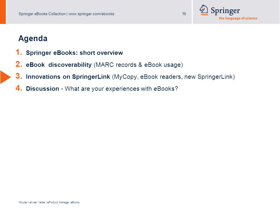 Springer eBooks Collection |   Wouter van der Velde | eProduct Manager eBooks Agenda 1.