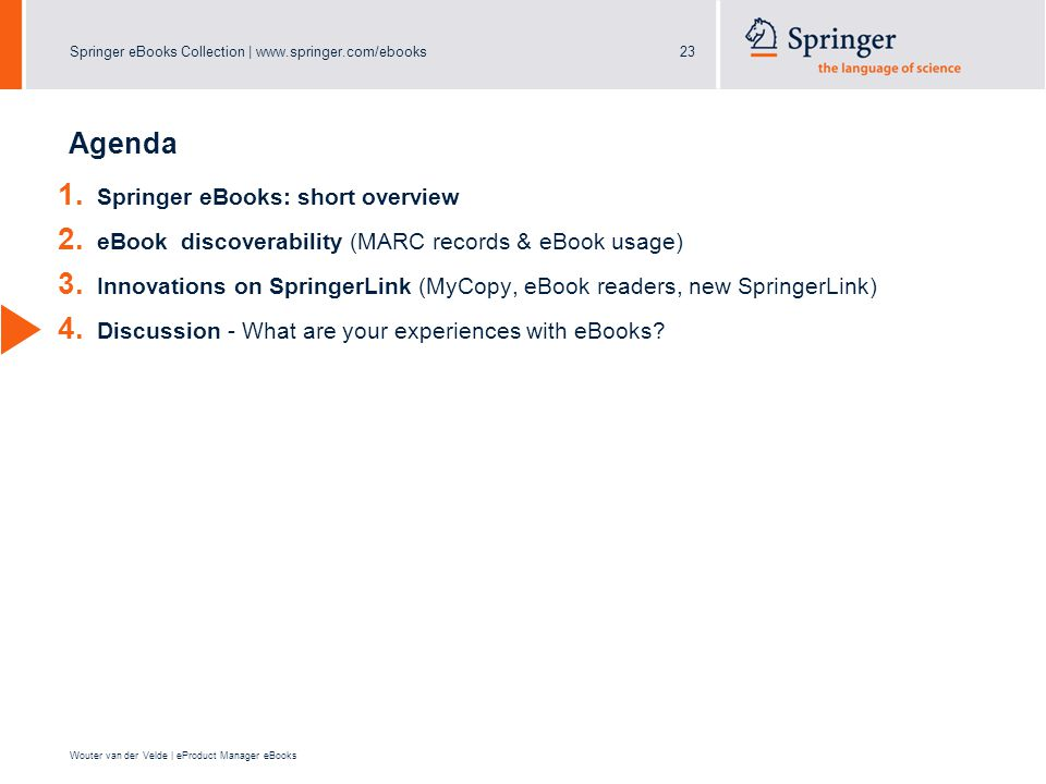 Springer eBooks Collection | www.springer.com/ebooks23 Wouter van der Velde | eProduct Manager eBooks Agenda 1.