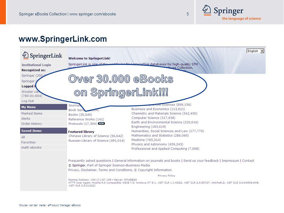 Springer eBooks Collection | www.springer.com/ebooks5 Wouter van der Velde | eProduct Manager eBooks www.SpringerLink.com