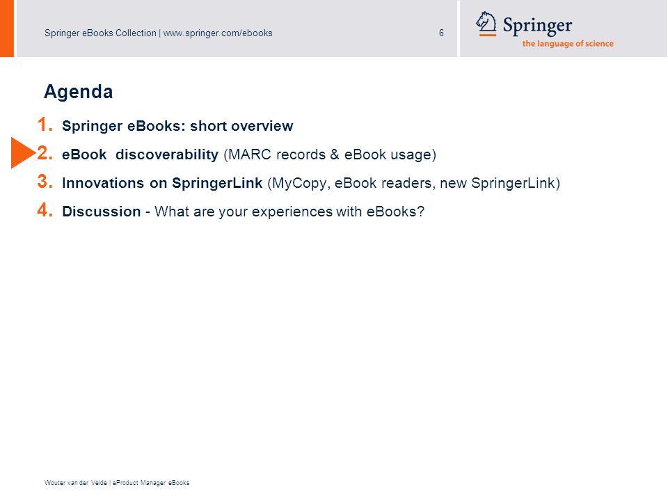 Springer eBooks Collection | www.springer.com/ebooks6 Wouter van der Velde | eProduct Manager eBooks Agenda 1. Springer eBooks: short overview 2. eBoo