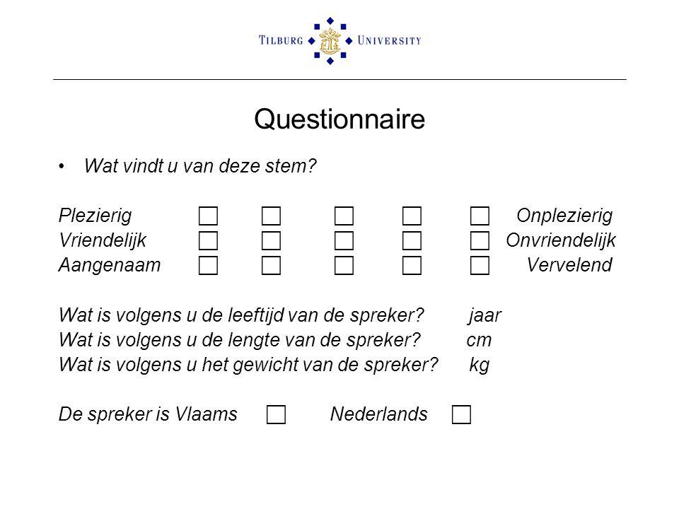 Questionnaire Wat vindt u van deze stem.