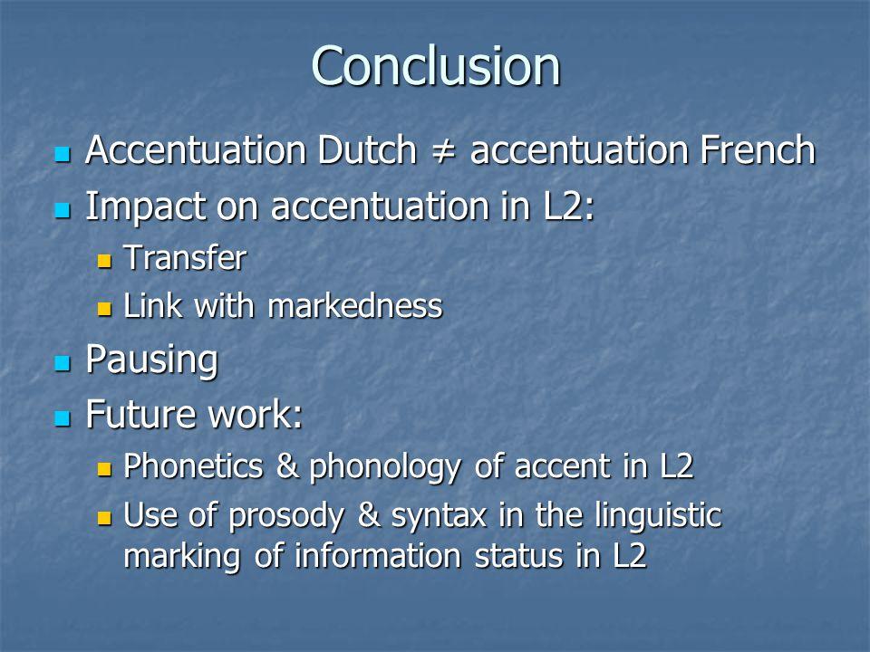 Conclusion Accentuation Dutch ≠ accentuation French Accentuation Dutch ≠ accentuation French Impact on accentuation in L2: Impact on accentuation in L