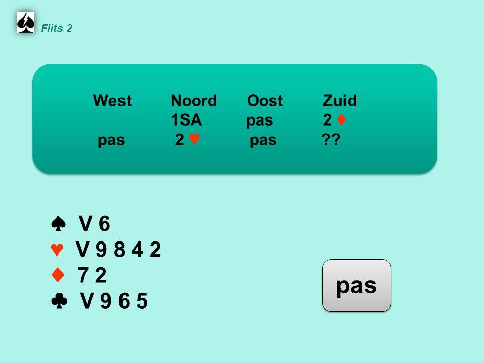 Flits 2 ♠ V 6 ♥ V 9 8 4 2 ♦ 7 2 ♣ V 9 6 5 WestNoordOostZuid 1SA pas 2 ♦ pas 2 ♥ pas pas
