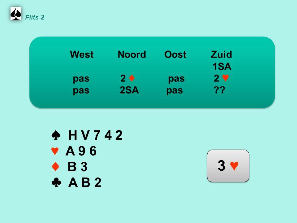 Noord ♠ H V 7 4 2 ♥ A 9 6 ♦ B 3 ♣ A B 2 WestNoordOostZuid 1SA pas 2 ♦ pas 2 ♥ pas 2SA pas .