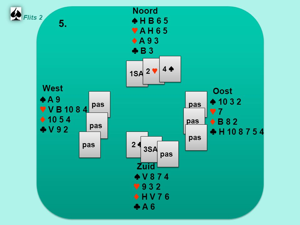 Zuid ♠ V 8 7 4 ♥ 9 3 2 ♦ H V 7 6 ♣ A 6 West ♠ A 9 ♥ V B 10 8 4 ♦ 10 5 4 ♣ V 9 2 Noord ♠ H B 6 5 ♥ A H 6 5 ♦ A 9 3 ♣ B 3 Oost ♠ 10 3 2 ♥ 7 ♦ B 8 2 ♣ H 10 8 7 5 4 5.