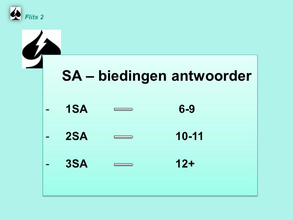 SA – biedingen antwoorder - 1SA 6-9 - 2SA 10-11 - 3SA 12+ SA – biedingen antwoorder - 1SA 6-9 - 2SA 10-11 - 3SA 12+ Flits 2