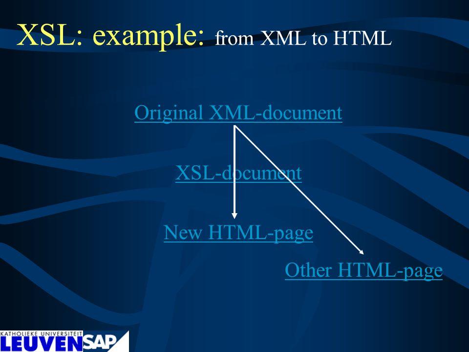 XSL: example: from XML to HTML Original XML-document XSL-document New HTML-page Other HTML-page