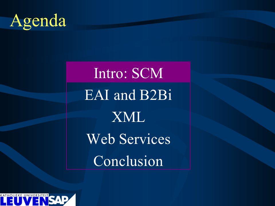 Agenda Intro: SCM EAI and B2Bi XML Web Services Conclusion