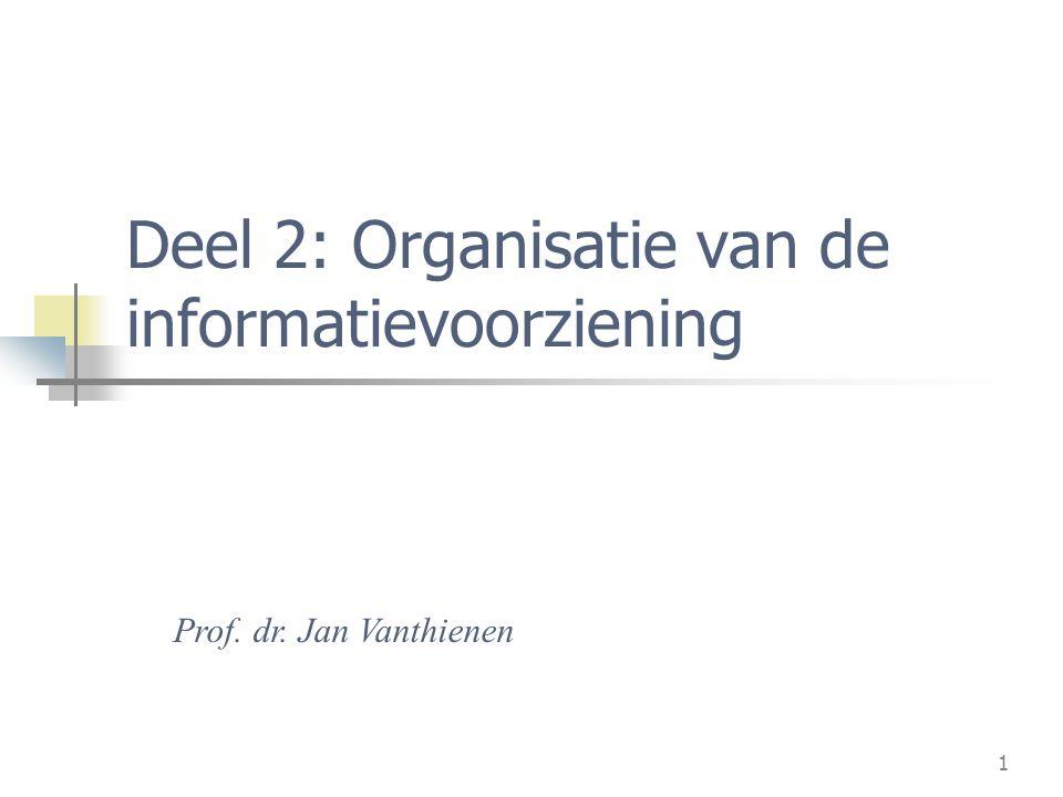 1 Deel 2: Organisatie van de informatievoorziening Prof. dr. Jan Vanthienen