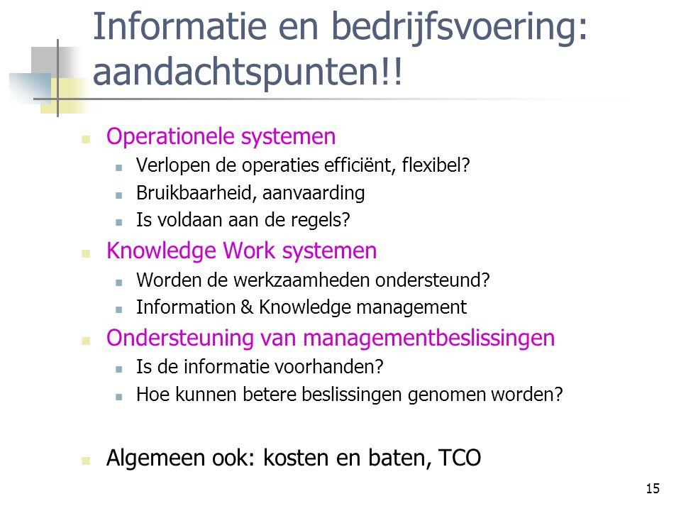 15 Informatie en bedrijfsvoering: aandachtspunten!.
