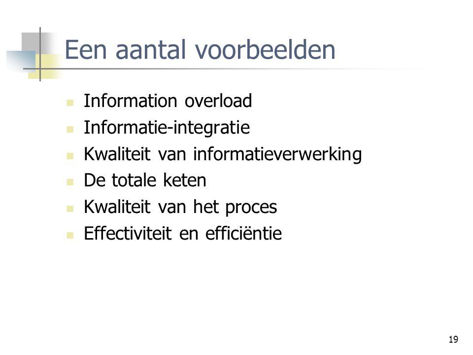 19 Een aantal voorbeelden Information overload Informatie-integratie Kwaliteit van informatieverwerking De totale keten Kwaliteit van het proces Effectiviteit en efficiëntie