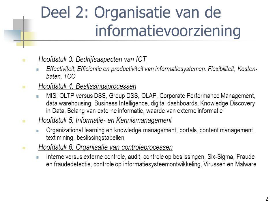 2 Deel 2: Organisatie van de informatievoorziening Hoofdstuk 3: Bedrijfsaspecten van ICT Effectiviteit, Efficiëntie en productiviteit van informatiesystemen.