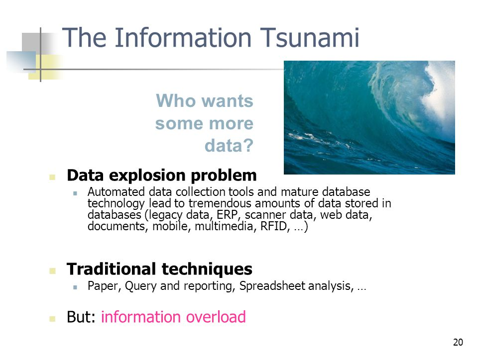 20 Data explosion problem Automated data collection tools and mature database technology lead to tremendous amounts of data stored in databases (legacy data, ERP, scanner data, web data, documents, mobile, multimedia, RFID, …) Traditional techniques Paper, Query and reporting, Spreadsheet analysis, … But: information overload The Information Tsunami Who wants some more data?