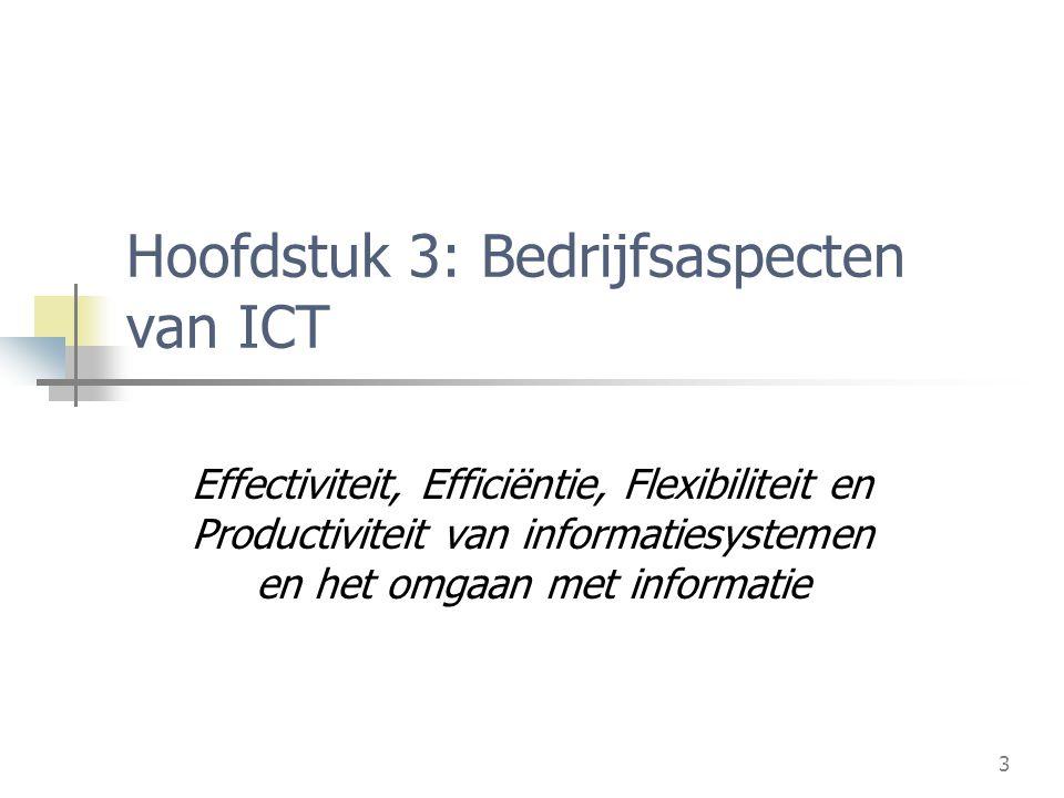 3 Hoofdstuk 3: Bedrijfsaspecten van ICT Effectiviteit, Efficiëntie, Flexibiliteit en Productiviteit van informatiesystemen en het omgaan met informatie