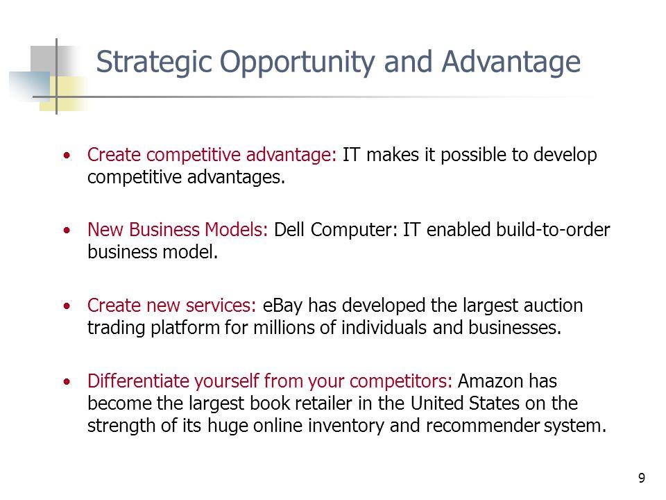 9 Create competitive advantage: IT makes it possible to develop competitive advantages.