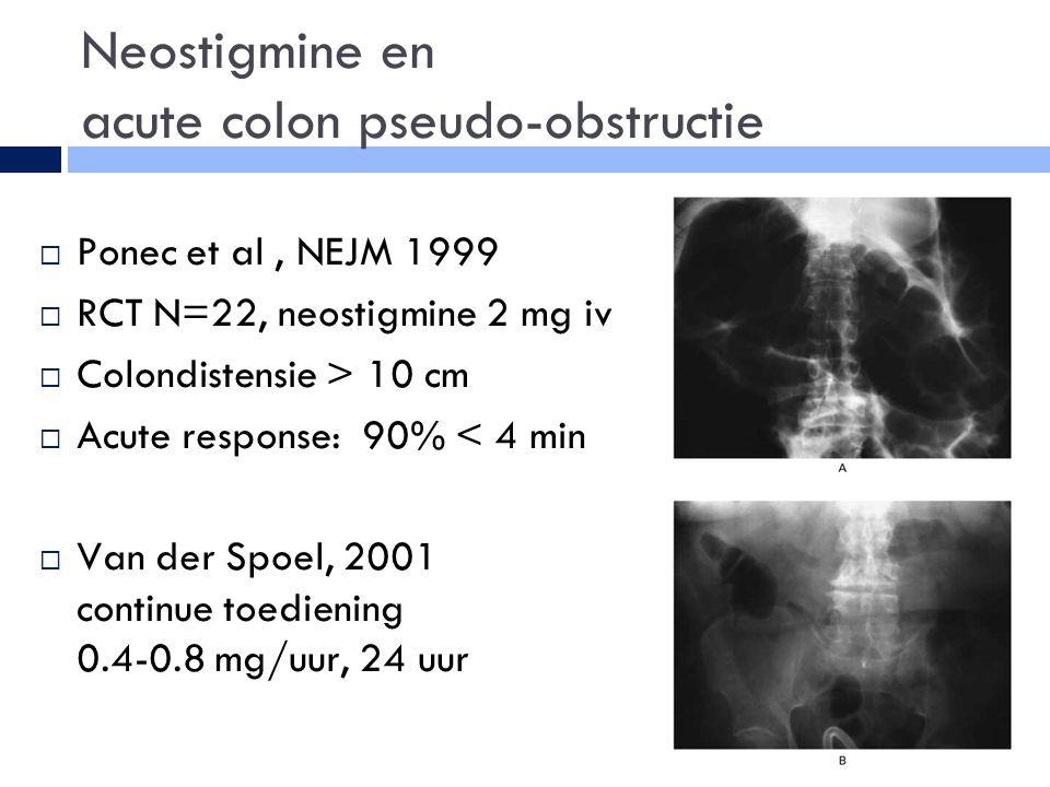 Neostigmine en acute colon pseudo-obstructie  Ponec et al, NEJM 1999  RCT N=22, neostigmine 2 mg iv  Colondistensie > 10 cm  Acute response: 90% < 4 min  Van der Spoel, 2001 continue toediening 0.4-0.8 mg/uur, 24 uur
