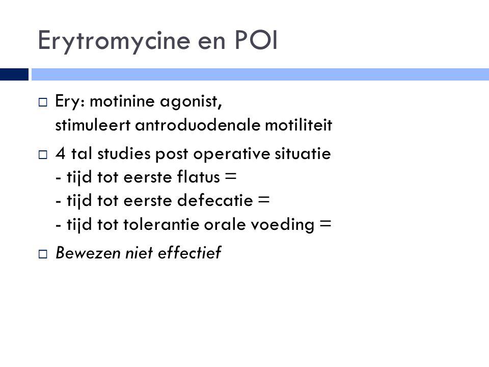 Erytromycine en POI  Ery: motinine agonist, stimuleert antroduodenale motiliteit  4 tal studies post operative situatie - tijd tot eerste flatus = - tijd tot eerste defecatie = - tijd tot tolerantie orale voeding =  Bewezen niet effectief