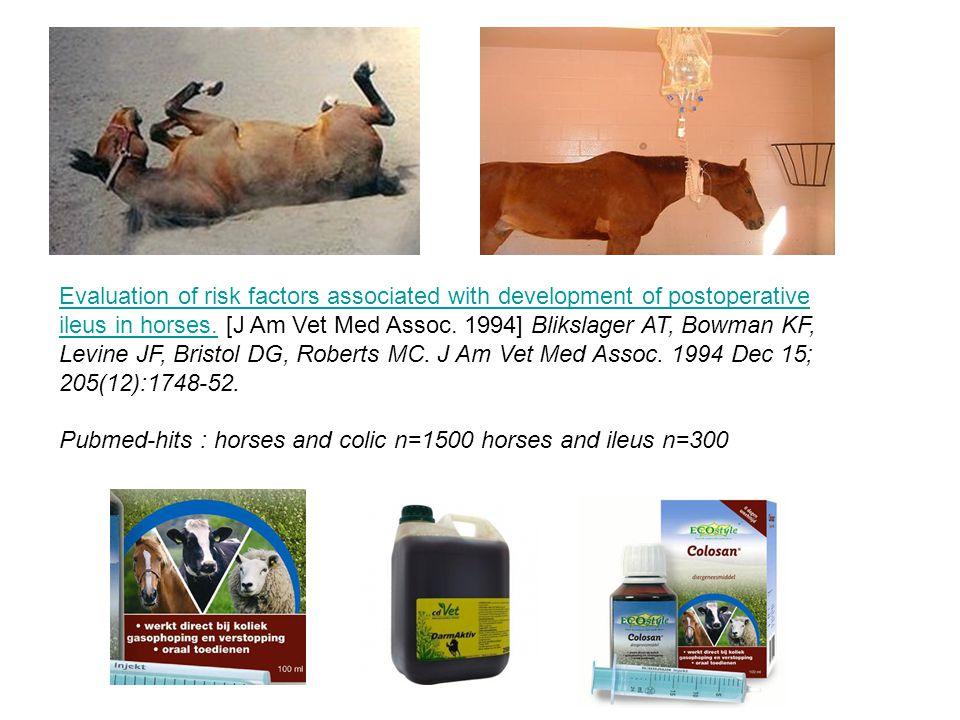 Evaluation of risk factors associated with development of postoperative ileus in horses.Evaluation of risk factors associated with development of post