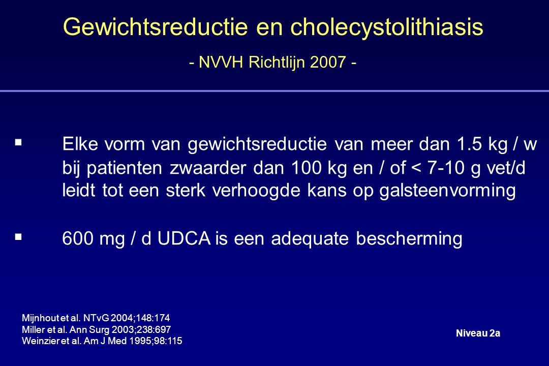 Gewichtsreductie en cholecystolithiasis - NVVH Richtlijn 2007 -  Elke vorm van gewichtsreductie van meer dan 1.5 kg / w bij patienten zwaarder dan 100 kg en / of < 7-10 g vet/d leidt tot een sterk verhoogde kans op galsteenvorming  600 mg / d UDCA is een adequate bescherming Mijnhout et al.