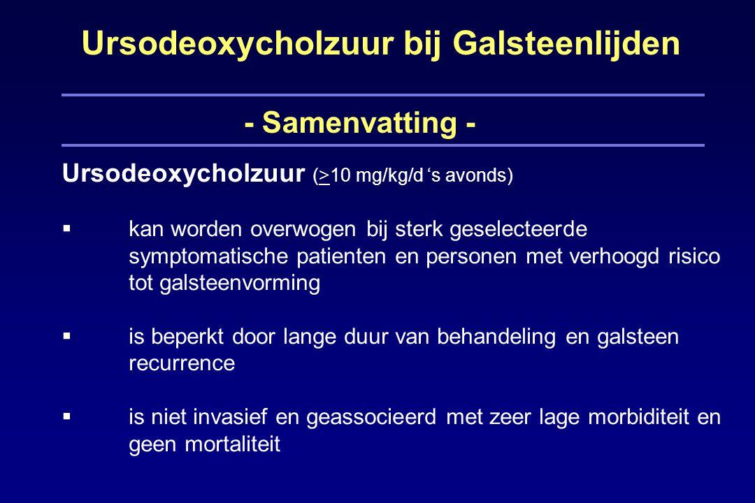 Ursodeoxycholzuur bij Galsteenlijden - Samenvatting - Ursodeoxycholzuur (>10 mg/kg/d 's avonds)  kan worden overwogen bij sterk geselecteerde symptomatische patienten en personen met verhoogd risico tot galsteenvorming  is beperkt door lange duur van behandeling en galsteen recurrence  is niet invasief en geassocieerd met zeer lage morbiditeit en geen mortaliteit